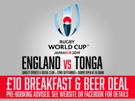 Beer & Breakfast: Eng vs Tonga - Rugby World Cup 2019